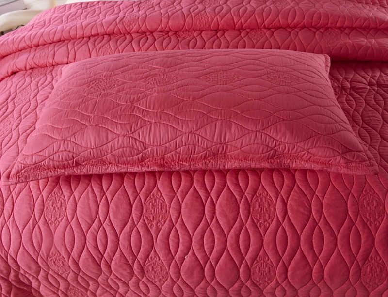 Blanco marrón Rosa rojo azul lujo estilo europeo 100% algodón colcha fundas de almohada sábana cama manta 220X240 cm 3 piezas