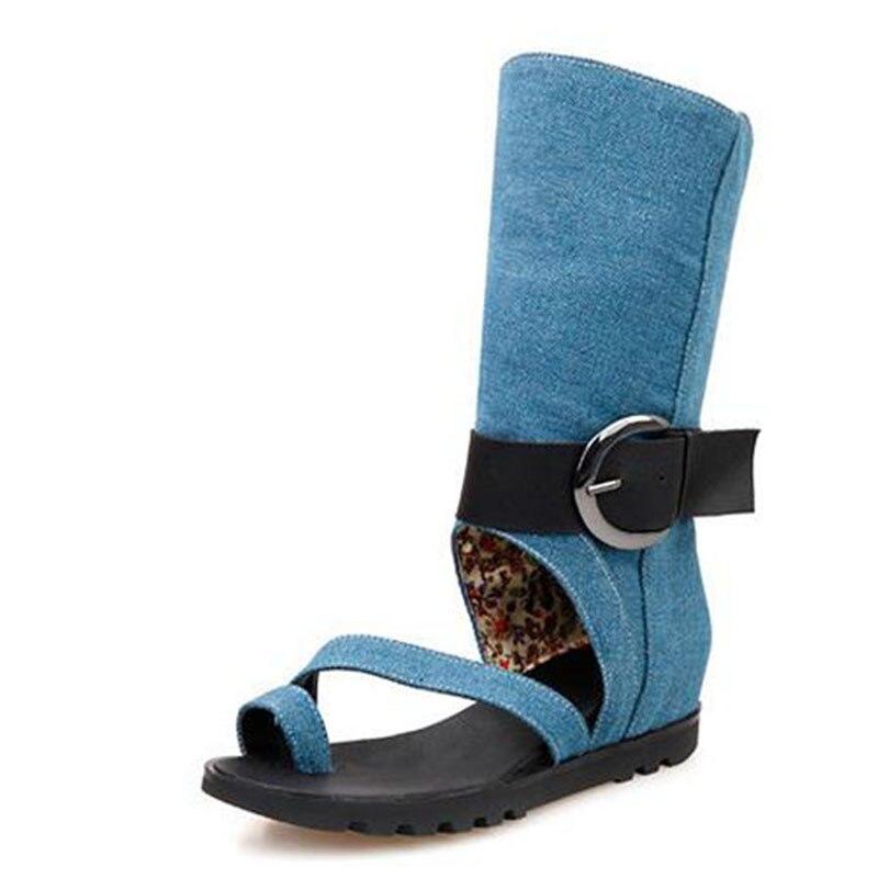 Offre spéciale de haute qualité à plat avec denim cool décontracté tendance accrue en clip toe ceinture boucle femme chaussures sandales hautes