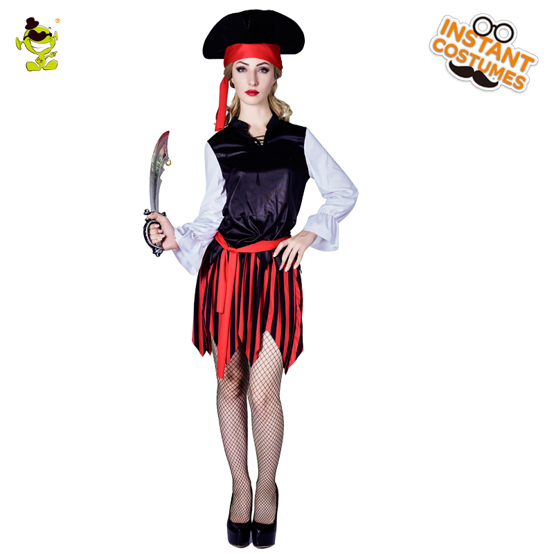 Women's Deluxe Striped Pirate Costume Adult's Gorgeous Viking Girl Cosplay Fancy Dress Carnival Party Costumes