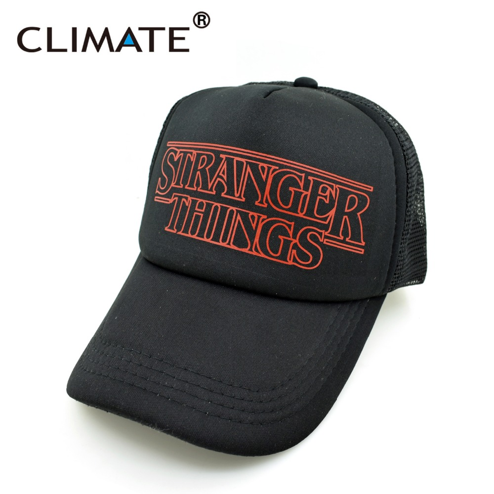 CLIMATE 2017 New Summer Cool Black Stranger Things Drama Snapback Caps Hats  Adjustable Men Women BoySummer Cool Hat. 472e1a8eb9a6