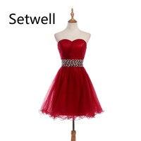 Setwell 2017 платья для выпускного вечера без бретелек и расшитый бисером бальное платье с блестками с кристаллами короткое органза летнее плать