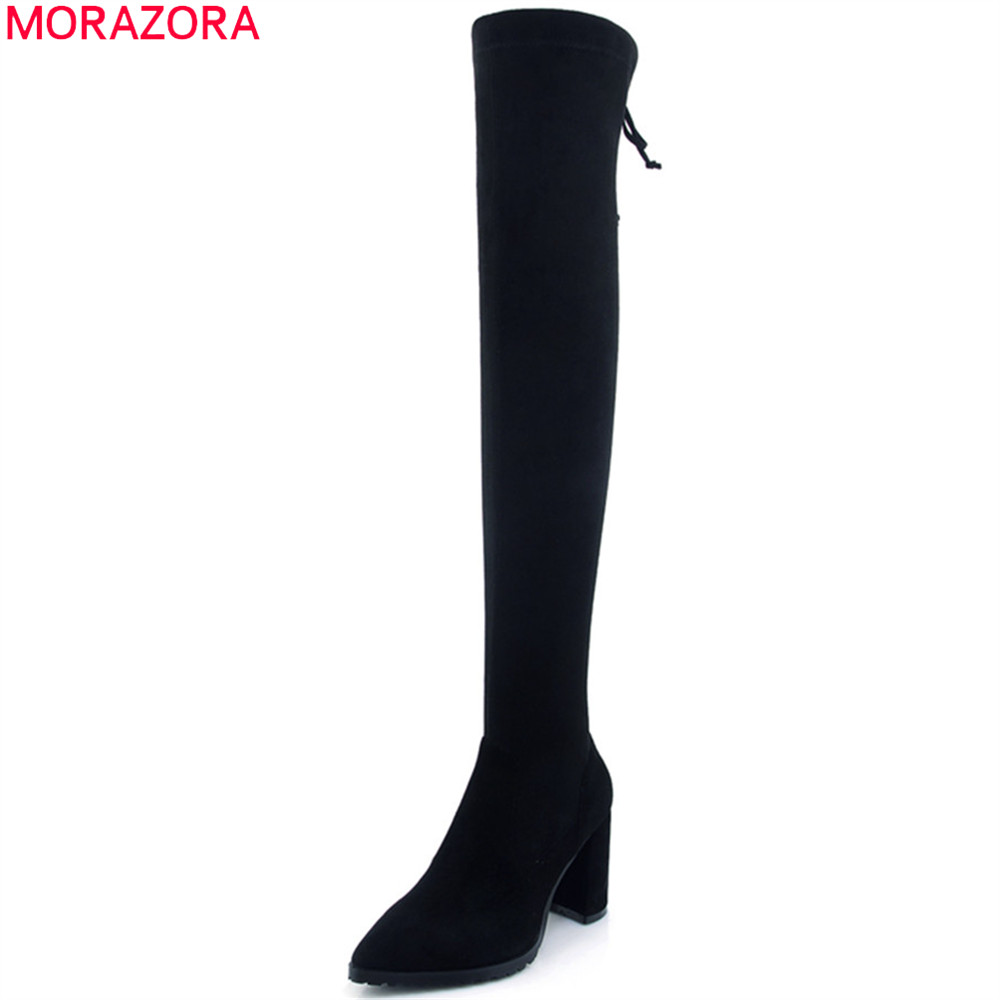 MORAZORA black fashion autumn winter new women boots pointed toe kid suede boots zipper square heel sexy over the knee boots morazora autumn winter new arrive women boots pointed toe zipper flock ladies boots square heel cross tied over the knee boots