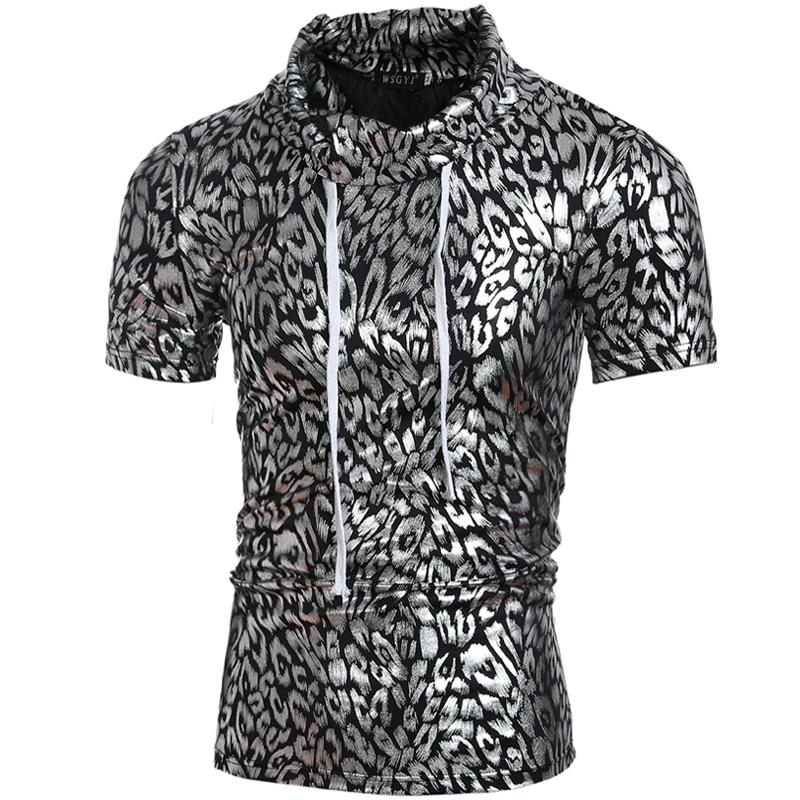 2018 Stehkragen Golden & Silber gedruckt Herren T-Shirts Bodybuilding - Herrenbekleidung - Foto 2
