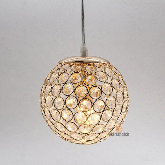 E27 современный красивый кулон светильник s Золото/Серебро подвесной светильник, круглый шар кристалл D15CM подвесные лампы для гостиной комнаты(DN-65