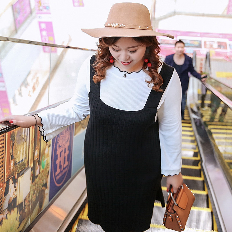 New fashion Korean Edition Black Color Sweater Dress Women Casual Cotton Long 8505