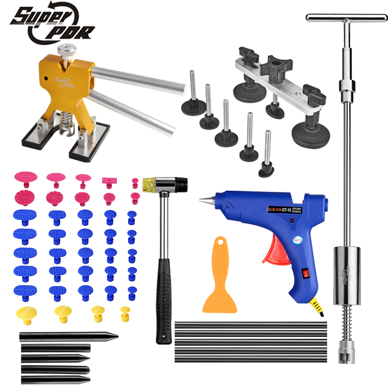 цена на Super PDR Tools Dent Removal Paintless Dent Repair Tools Removing Dents Without Painting slide hammer Tool Kit Ferramentas 55pcs