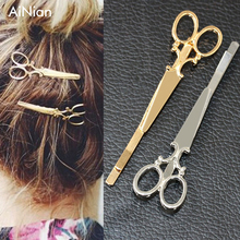 AiNian Hair Pin Gold Scissors Shears Clip For Hair Tiara Barrettes Headdress Vintage Simple Head Jewelry Valentine's Day Gift