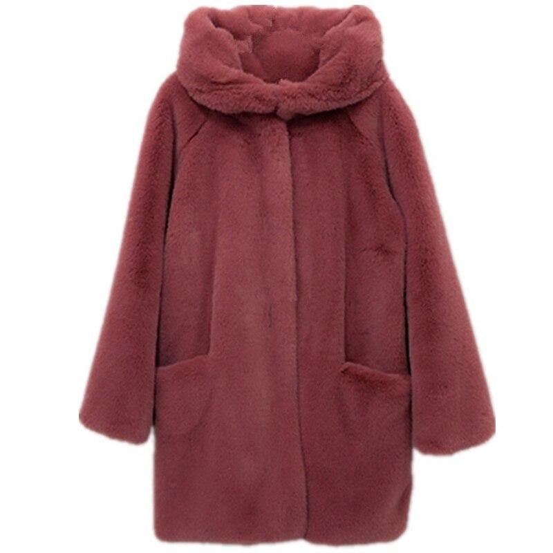 2018 Red Longue Chaud Blue Lâche Épais Doux En Élégant Pw25 deep Vêtements D'extérieur Fourrure Cuir Fausse Rouge D'hiver Manteaux Manteau TKJFcl13