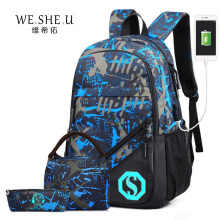 WESHEU New Fashion Schoolbag Party Design School Bags External USB Students Boys Girls Backpacks Leisure Women Travel Laptop Bag