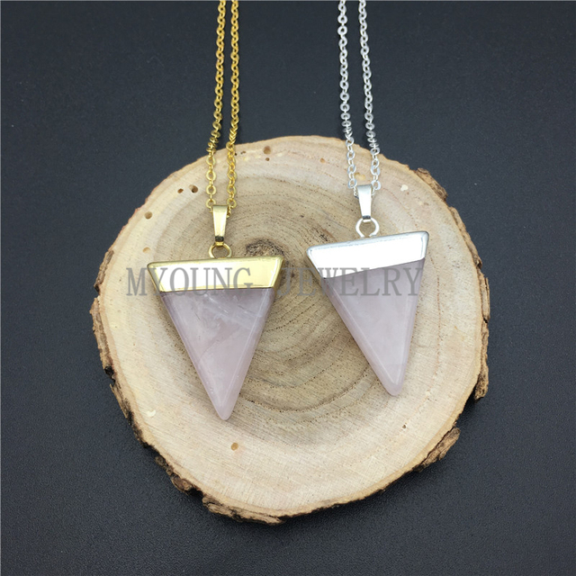 My0948 triangle roses quartz point pendant pink crystal gems stone my0948 triangle roses quartz point pendant pink crystal gems stone pendant gold or silver electroplated aloadofball Images