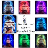 RGB Led Canvas Wall Decorative with remote control Dragon Ball Super Goku Picture Canvas Print Illuminate painting poster decor