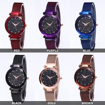 Women Stylish Quartz Wrist Watch Mesh Alloy Magnet Strap Starry Sky Dial Casual Watches LXH