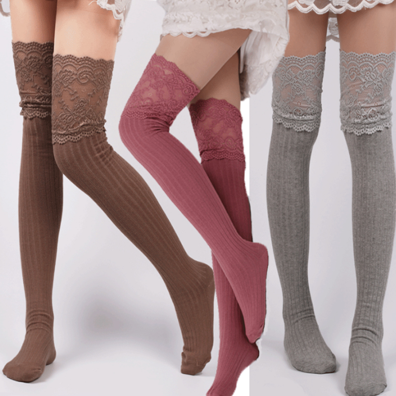 Sale Women Girls Lovely stocking lace over Knee Vertical stripe High cylinder bottoming  ...