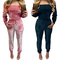 New trendy 2017 velvet jumpsuit women Off Shoulder Shiny rompers womens jumpsuit Party Rompers combinaison femme body femme #5