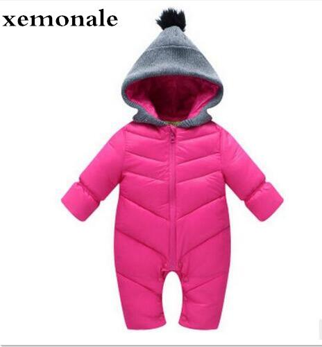 Spring Autumn Winter newborn baby Romper Duck Down Cotton infant snowsuit hooded boys girls Jumpsuit waterproof crawling clothes newborn baby girls jumpsuit rompers boys clothes romper for infant baby girls pajamas spring autumn long sleeve cotton costumes