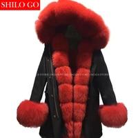 Плюс размер новая зимняя армейская зеленая куртка женская верхняя одежда толстые парки натуральный Лисий мех воротник красный кролик паль