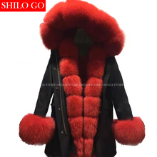 Plus 2016 new winter army green jacket women outwear thick parkas natural real fox fur collar red rabbit coat hooded pelliccia