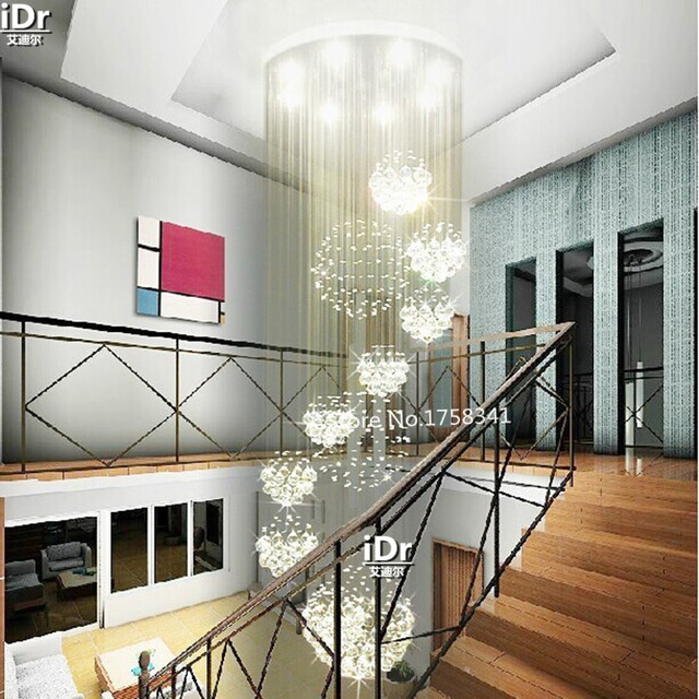 Modern living room 11 ball crystal chandelier penthouse floor staircase hall crystal lamp LED lights hanging wire fixture