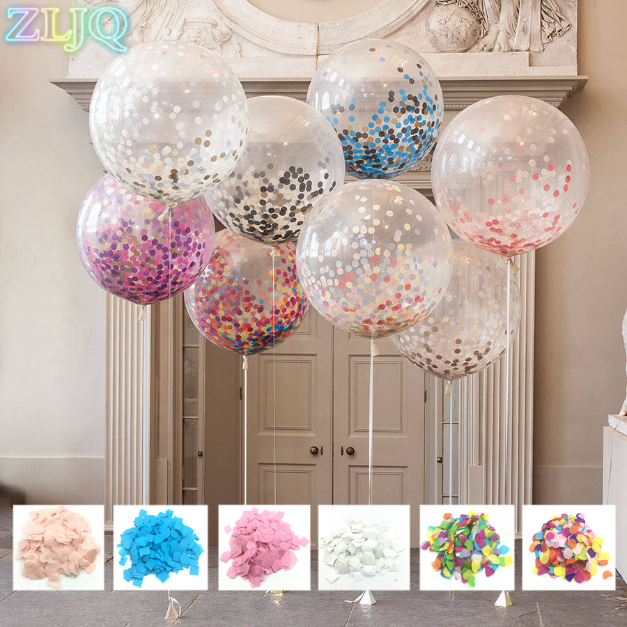 ZLJQ 1pc 36 inch Clear Balloon With 1 pack Confetti DIY Confetti Balloons For Wedding Decoration Birthday Party Baby Toy Gift 5D