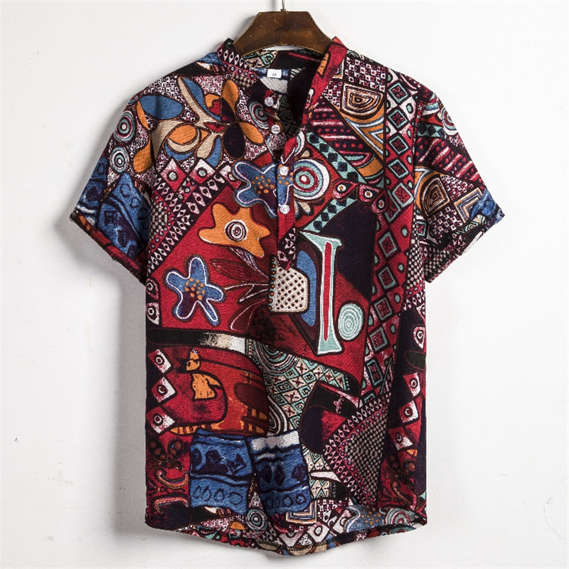 New Summer Men Shirts Short Sleeve Beach Hawaiian Shirts Casual Floral Shirts Regular Fashion Button Down Shirts Plus Size