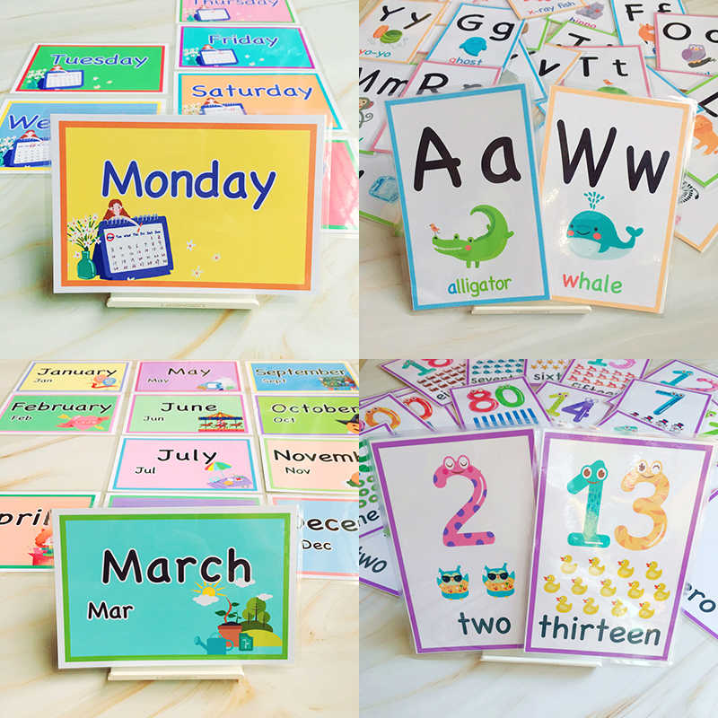 74Pcs 12 Months/7 Days/number/Alphabet English Learning Word Card English Learning Card Early Preschool Education Children Words
