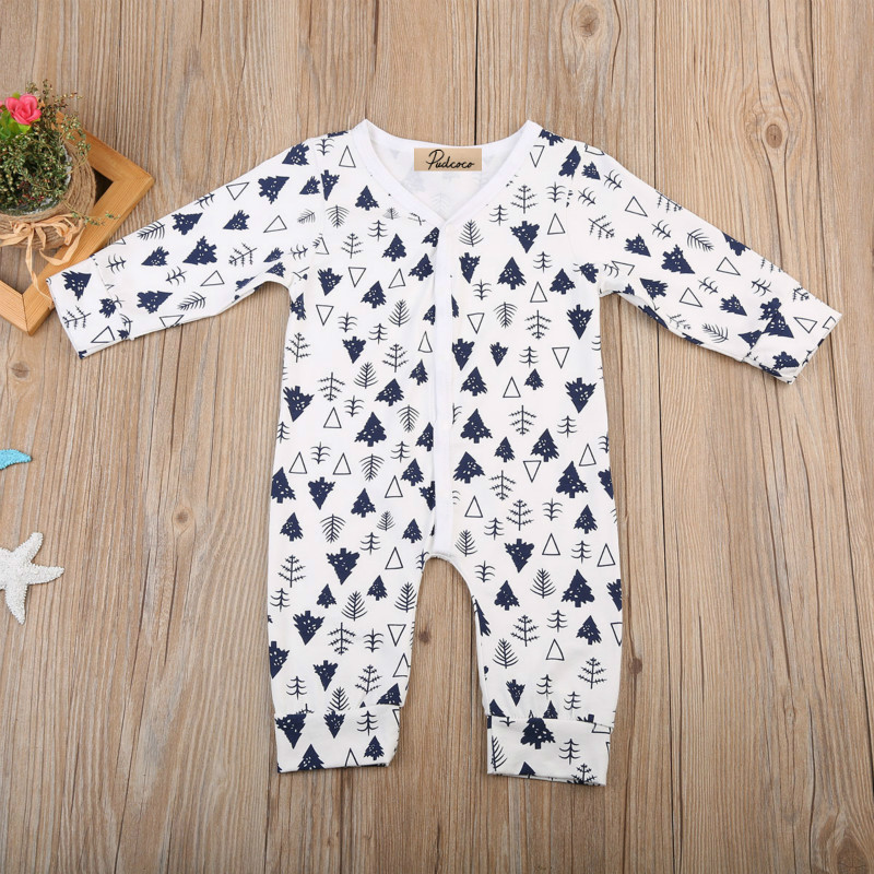 2017 Autumn Newborn Infant Baby Boy Girl Cotton Romper Casual Long Sleeve Christmas Tree Print Jumpsuit Playsuit Clothes 0-24M baby romper thicken hat 100% cotton 2017 autumn lucky red full sleeve girl boy baby clothing newborn infant jumpsuit rompers