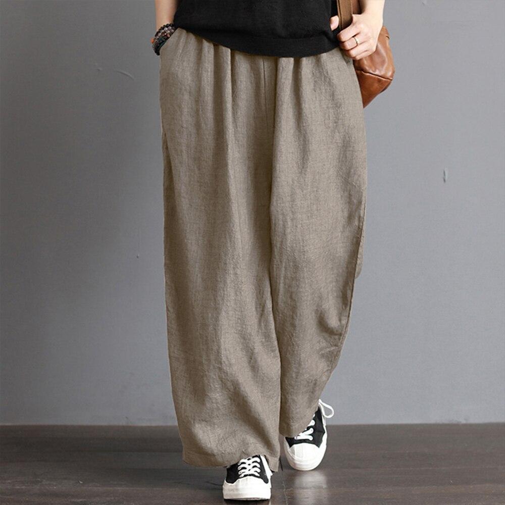 5XL Plus Size Women's Casual Loose   Wide     Leg     Pants   Vintage Elastic Waist Trousers Casual Cotton Linen Oversized Long   Pants