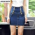 High Waisted Denim Skirts 2017 Summer Women's Plus Size Skirt Bodyshape Ladies Pencil Skirts Jeans Falda Femininas