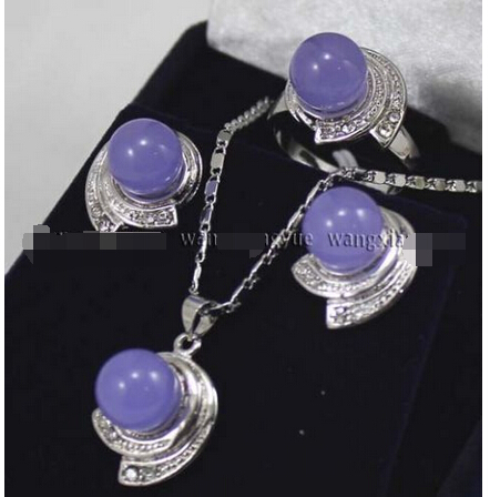 Hot selling> Lavender Alexandrite Earrings & Ring & Necklace Pendant Set^^^@^GP style Fine Natural stone Noble Natural