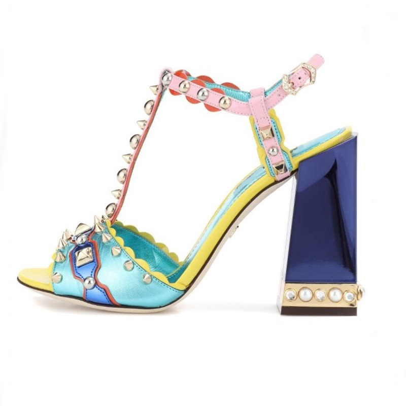 Women Heels 2018 Rome Style Mixed Colors Ankle T-Strap Women Sandals Peep Toe Studded Rivets Pearl Decor Heels Female ShoesWomen Heels 2018 Rome Style Mixed Colors Ankle T-Strap Women Sandals Peep Toe Studded Rivets Pearl Decor Heels Female Shoes