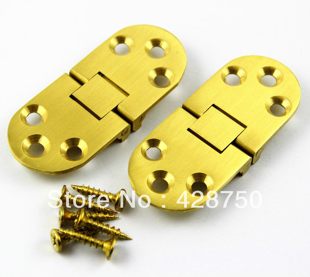 Solid Brass Hinge Round Hinge 2-3/4 x 1-3/16 with Screws round up 1 2 3