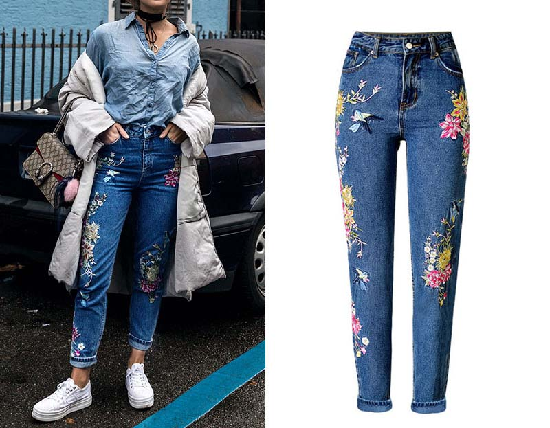 2017 Europe and the United States women's three-dimensional 3D heavy craft bird flowers before and after embroidery high waist Slim straight jeans large code system 46 yards (2)