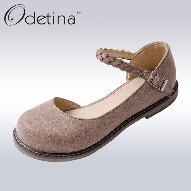 Odetina/Новинка 2018 г. Весенняя модная женская обувь Мэри Джейн с круглым носком и пряжкой на ремешке, Винтажная обувь на плоской подошве с круглым носком, удобная обувь ручной работы на плоской подошве