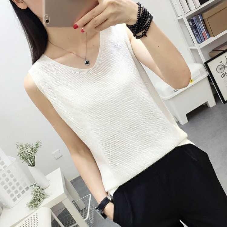 2019 New Fashion Spring Summer V-Neck Women Tank Tops Sexy Slim Ladies Vest Casual Solid Color Sleeveless Tank Top Tee Plus Size