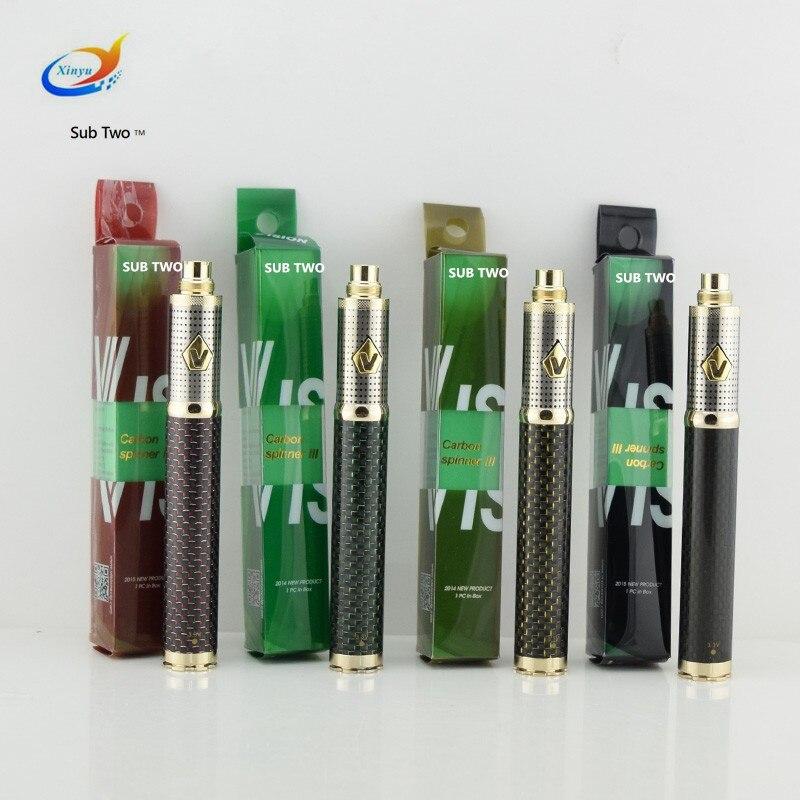 Sous deux cigarette électronique Vision III Batterie Tension Réglable 1600 mah fiber de carbone vision 3 batterie 510 fil vaporisateur stylo