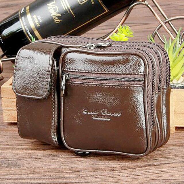 Men Genuine Leather Cowhide Fanny Belt Hip Bum Waist Pack Brand Famous Cell/Mobile Phone Case Cigarette Coin Purse Casual Bag