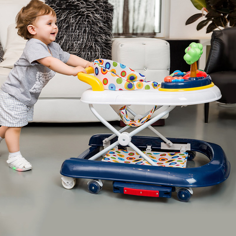 Foldable Baby Walker Adjustable Baby Walker with Wheels Anti Rollover Toddler Walker Toy Musical Learning Walking Assistant Toys original fisher price multi function baby walker lion car children activity musical baby walker with wheels adjustable car