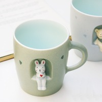 Exquisite Animals sitting ceramic mug Cute 3D stereoscopic beverage cup Lion rabbit dog Bear cat mug