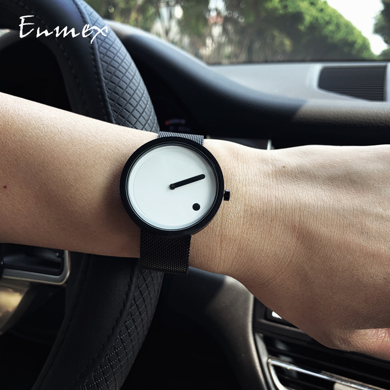 2019gift Enmex Minimalist style wristwatch creative design Dot and Line simple dail stylish steel band quartz fashion watch in Women 39 s Watches from Watches