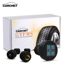 CARCHET Car TPMS Tyre Pressure Monitoring System 4 External Sensors Cigarette Lighter Car Tire Pressure Alarm 0-8Bar 0-116PSI стоимость