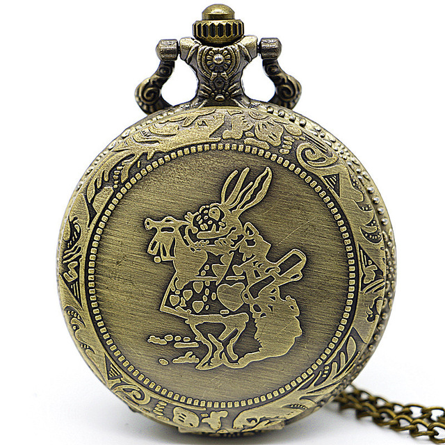 Bronze Rabbit &Girl Pocket Watch Alice in the Wonderful World Quartz Pocket Fob Watches Men Gifts Relogio De Bolso