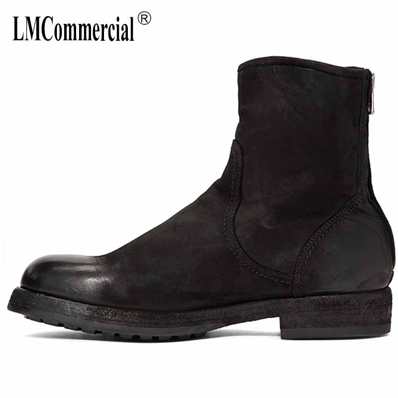 autumn winter Genuine Leather Martin boots leisure high top men's shoes all-match cowhide Chelsea boots breathable sneaker male