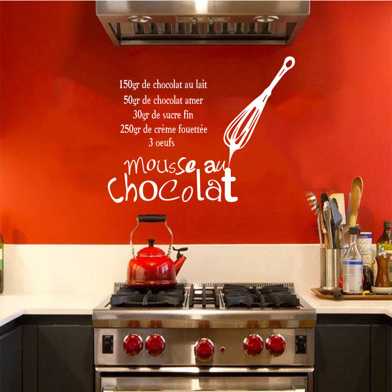Pegatinas de cocina francesa de vinilo etiqueta de la pared Decal Mousse Au Chocolate Mural azulejo arte de la pared cocina Wallpaper Home Decor DW0959