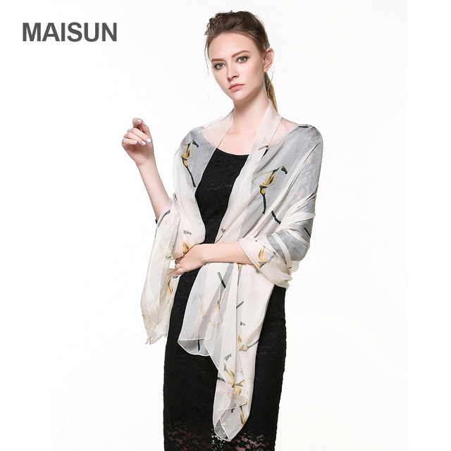 [MAISUN] grande Tamanho 100% De Seda Chiffon Cachecóis Xale Padrão Floral de Alta Qualidade Tecidos de Seda Fina Lenço De Seda Para As Mulheres