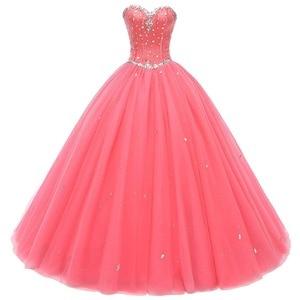 Image 1 - 진짜 그림 화려한 Quinceanera 드레스 2019 크리스탈 비즈 Debutante 볼 가운 댄스 파티 드레스 Vestido De Quince Robe De Soiree