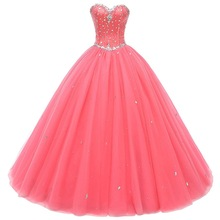 Ball-Gown Prom-Dresses Crystal Debutante Vestido-De-Quince Beads Robe-De-Soiree Real-Picture-Gorgeous