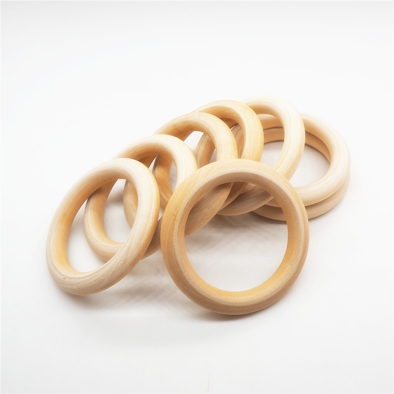 Chenkai 10pcs 70mm 2.75'' Baby Wood Teether Ring Unfinished Nature Wooden Infant Shower Pacifier Dummy Chewing Sensory 7cm Toy