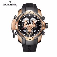 Reef Tiger Brand Mens Sport Watches Reloj Hombre Complicated Waterproof Automatic Military Rubber Strap Watch Relogio Masculino