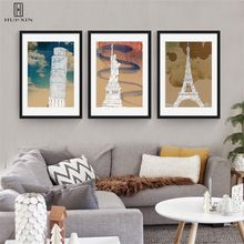 World-level Famous Buildings Eiffel Tower The Leaning Tower Of Pisa The Statue Of Liberty Canvas Pictures For Home Decoration italian flag style graffiti leaning tower of pisa pattern case for samsung s6812 s6810 green