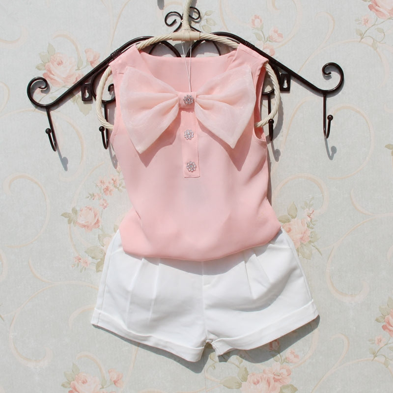 T-Shirt Kids Clothing Girl Children Summer New Chiffon Bow Cute Age 1-16Y 4-Colors Vest
